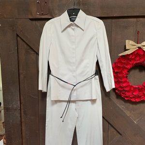 Express snap leather tie blazer, size 5/6